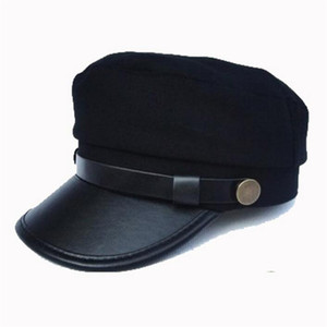 2017 nuovo cappello militare donne e uomini snapback cappello biker camion cotone partite pu berretto newsboy