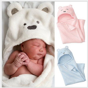 Coral Fleece Baby Blankets Newborn Kids Baby Blanket Baby Wrap Boy&Girl Toddler Cartoon Bear Sleeping Bag