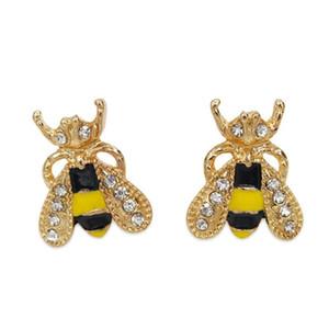 Antico cristallo insetto ape Stud placcato oro Carino smalto colorato Bee orecchini strass Stud per le donne Ragazze orecchio gioielli stile coreano