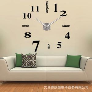 Gros- muhsein 2016 Nouveautés Horloges Murales Creative Moderne Stickers Muraux Unique Grand BRICOLAGE 3D Numérique Miroir Art Home Decor Freeshipping