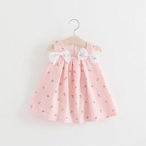 Neonate spalla dell'arco Bretelle Estate Abiti bambini boutique di abbigliamento coreano 1-4T neonate Stampa Abiti bretella