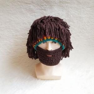 Örme Yün Şapka Sonbahar ve Kış Şapka Yaratıcı El Yapımı Peruk Sakal Şapka Erkek Komik Şapkalar Ücretsiz Kargo