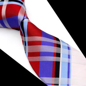 T091 Cravatta da uomo cravatta a scacchi scozzese scozzese rosso blu bianco multicolor 100% seta jacquard intrecciato nuovo business casual formale all'ingrosso