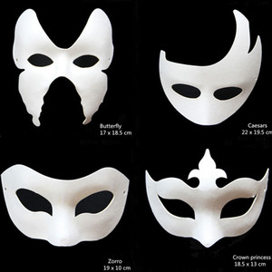Wholesale- Novelty DIY White Paper Unpainted Party Mask Various Venetian Women Men Face Masks Fancy Dress Halloween Gift