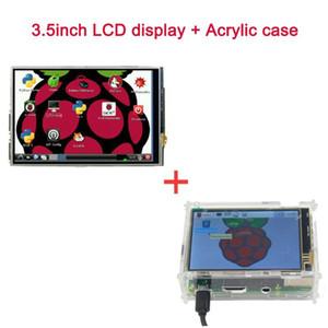 Freeshipping Raspberry Pi Module d'affichage à cristaux liquides Écran tactile ACL de 3,5 pouces + étui en acrylique Étui transparent Soutien Raspberry Pi 3 Raspberry Pi 2