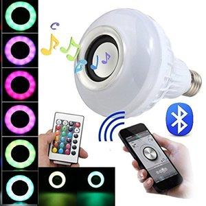 Altavoz Bluetooth Smart luz E27 RGB LED blanco Lámpara elegante colorida Música audio del altavoz de Bluetooth 3.0 con control remoto para el hogar