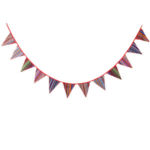 12 Flags 3.2m Outdoor Tent Ethnic Style Polyester Fabric Bunting Pennant Flags Banner Garland Wedding Birthday Party Decoration