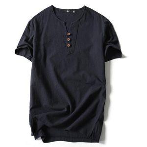 Style chinois tshirt pour les hommes d'été plus la taille en vrac coton manches courtes v cou t shirt pour les hommes de la mode polos shirt chemise hommes livraison gratuite