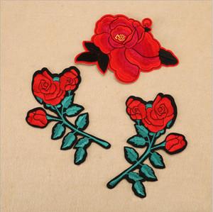 20 pcs rose flor adesivos de ferro em remendos patch bordado para roupas cheongsam jean jacket parches ropa tecido patchwork apliques