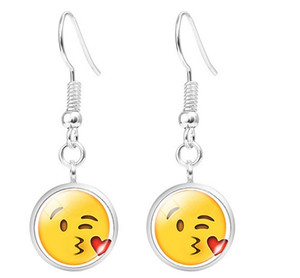 Emoji подвесные серьги для женщин девушки Emoticon Glass Smile Yellow Hook Earrings Set
