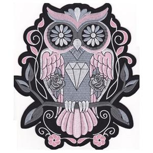 Fashion Night Owl PINK BACK BORDADO Traje de vuelo PARCHE MOTOCICLETA BIKER PATCH HIERRO EN CHALECO CHAQUETA Bird of Minerva Badge Envío gratis