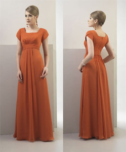 Burnt Orange Chiffon Modest Bridesmaid Dresses Long With Short Sleeves Simple Cap Sleeves Summer Bridesmaids Dresses Long