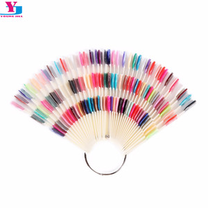 Wholesale- New 150Tips 3 Knots Nail Art Display Board Nails With Ring Salon Tool  Chart Color Sample Practice Fan Nail Polish Display