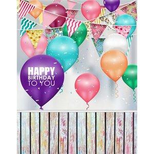 Renkli Balonlar Bayrakları Çocuklar Doğum Günü Partisi için Arka Planında Ahşap Zemin Fotografik Arka Portreler Stüdyo Fotoğrafçılığı Sahne