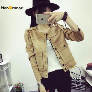Wholesale- HanOrange 가을 한국어 학생 여성 슬림 짧은 패치 워크 단추 가짜 가죽 스웨이드 재킷 블랙 / 핑크 / 레드 / 카키 / 육군 녹색