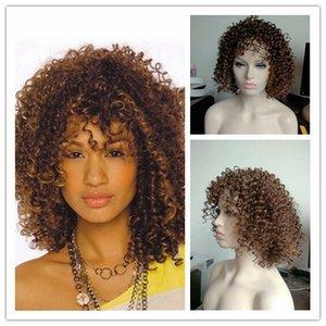 """Xiu Zhi Mei 18 """"Ucuz Afro Uzun Kinky Kıvırcık Peruk Siyah Kadınlar Için African Peruk ABD Ucuz Gerçekçi Sentetik Saç Doğal Peruk Lolita Peruk"""