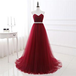 New En stock A-ligne de robe souple Tulle foncé bal rouge Robes de soirée sexy perlage main Bandage Parti robe longue robe de fest