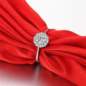 Hot luxury Imitation Rhodium Plated Diamond wedding ring 4 size Fashion jewelry Austria Czech Zircon Rings