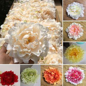 Flores artificiales de seda peonía cabezas de flores del partido de decoración de la boda suministros simulación cabeza de flor falsa decoraciones para el hogar 15 cm WX-C03