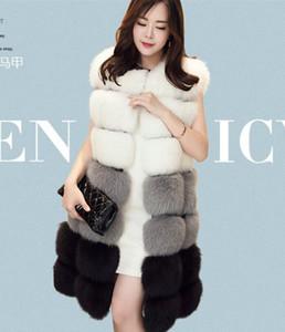 겨울 코트 여성 Faux Fox 모피 조끼 브랜드 여성 가을 겨울 긴 모피 조끼 패션 Luxury Women 's Jacket
