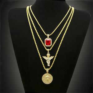 Hip Hop Позолоченные ожерелье Iced Out Rhinestone Кристалл комплект ювелирных изделий с Angel Jesus Подвески Колье Цепи Горячие продажи