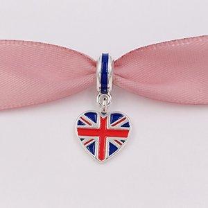 925 Beads Bandeira de Grâ Bretanha coração pingente charme único europeu Pandora colar pulseiras estilo para fazer jóias 791512ENMX