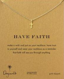 Atacado-Frete grátis Dogeared cruz pequeno banhado a ouro cruz clavícula cadeia colar (colar sem cartão)