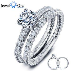 Роскошные свадебные обручальное кольцо свадебные наборы стерлингового серебра 925 Белый кубический цирконий кольца для женщин (JewelOra RI101611)