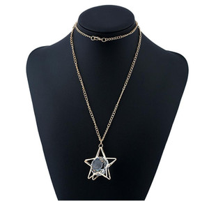 2018 new hot Fashion five star big gem long sweater chain nekclace for women statement Jewelry Hollow out crystal Pendant necklace wholesale