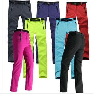 Mujeres Grueso Cálido Fleece Pantalones Softshell Pesca Camping Senderismo Esquí Pantalones Impermeable a prueba de viento 2016 Nuevo Pantolon RW041