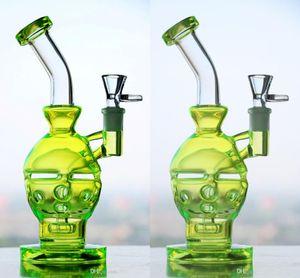 Klarer Feb Eggs Glas Bongs Schädel Mundgeblasener Becher Faberge-Egg Skull Wasserbongs mit grünen Bowl Bong Oil Rigs Pipes