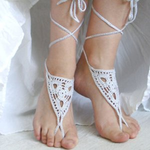 sandalias de ganchillo descalzos, sandalias, zapatos de la boda de playa desnudos, Barefoots blanco, listo para el envío Accesorios de novia Shose Yoga