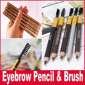 New Makeup Eyes Leopard New Professionale Double Head Make-up Sopracciglio Pencil Brush 5 colori Nero / Marrone / Grigio