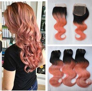 Dark Root Top Lace Closure Avec 3 Bundles Ombre 1B Or Rose Brésilien Corps Vague Cheveux Tisse Remy Humain Cheveux Rose Extensions