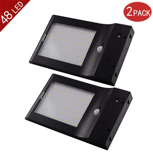 Al por mayor-2-Pack Más brillante 48 LED Luz solar Potencia Sensor de movimiento IP65 Pared Jardín Lámpara de seguridad al aire libre 4 modos con 5.5V 5W Panel solar