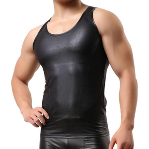 Wholesale-  New Sexy tank top men Leather T-Shirt Men's Sleeveless Singlet Undershirts for Fun Party Vest Tank