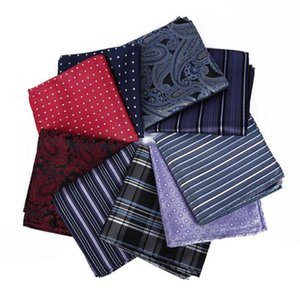 Sólido bolsillo de los hombres Pañuelo de color puro Pañuelo de la raya Vestido de banquete de bodas de boda Decoración Ascot Cravat Hombres Clásico lunares Hankie