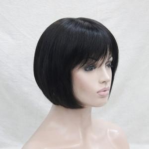 2017 новый супер мода очаровательная моноволокно top off черный человеческих волос короткие прямые Боб полный парик