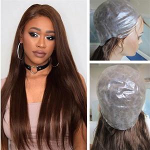 Arbeiten Sie volle dünne Hautperücke Farbe 4 silk gerade mittlere braune brasilianische Menschenhaar-PU-Perücke für schwarze Frauen freies Verschiffen um