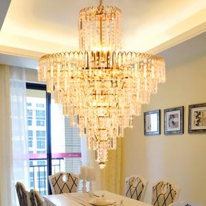 LED di cristallo Lampadario di cristallo dell'oro Lampadari Moderni Lights Fixture casa coperta sala da pranzo Hotel Hall Restaurant Droplight Sospese