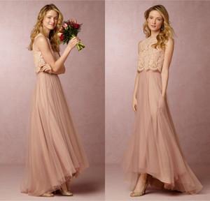 2020 Новый Урожай Румяна Розовый Две Части Платья Невесты Кружева Тюль Длинные Платья Невесты Ретро Hi-Lo Пром Платье
