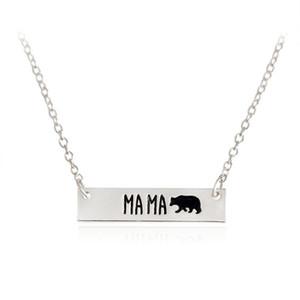 Neue Art und Weise nettes Tier trägt Halskette Schmuck Schriftzug Mama Bear Handgemachte Bar Halskette Mutter Liebe freies Verschiffen