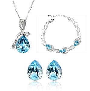 Sistemas de la joyería de la pulsera de los pendientes del collar cristalino 18K oro blanco plateado gota del agua de Swarovski para la joyería de las mujeres de la boda fija precio al por mayor