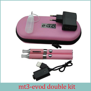E Cigarette MT3 EVOD Double Starter Kit 2.4ML Vaporizer 650mah 900mah 1100mah EVOD Battery Detachable Coil Ecigs DHL Free
