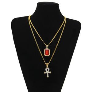 Egyptian Ankh Key of Life Bling strass Croix Pendentif avec Strass Pendentif Collier Set Hommes Mode Hip Hop Bijoux à 272