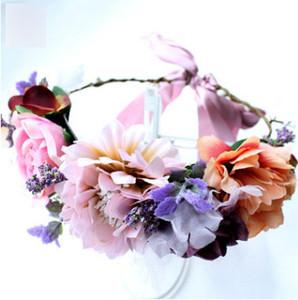 Niños guirnaldas de flores de simulación de Bohemia guirnalda corona de la fotografía de estudio de novia pelo playa accesorios niños diadema R0290