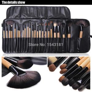 Livraison Gratuite Cheveux De Chèvre Maquillage Brosses Cheveux Naturels 24pcs / Set Kit De Pinceis De Maquiagen avec Maquillage Brush Case Set Package