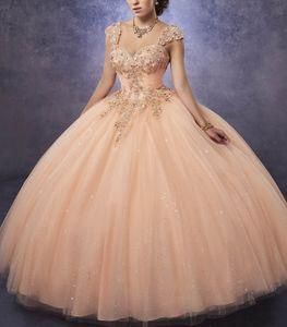 2019 Brillante tul Vestidos de quinceañera Vestido de bola Cariño Cuello de línea Blusa con pliegues Con encaje y perlas Correas desmontables Vestido de fiesta para niñas