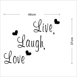 "Citazioni ""Live Laugh Love"" cuore Vinyl Stickers murali Live Laugh Love wall stickers home decor decorazione domestica Spedizione gratuita"