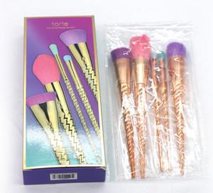 Yeni Tarte Makyaj Fırça Seti Fırçalar Araçları Altın Coloful Makyaj Fırça BB Krem Allık Pudra Fırçası 5 adet / takım